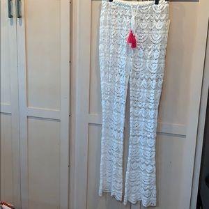 Miken swimwear coverup pants beautiful white lace